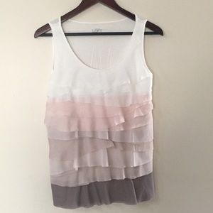 Loft tank top with layered ruffles